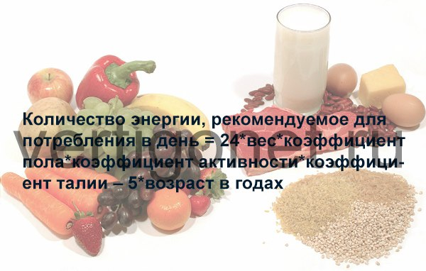формула дневного потребления калорий